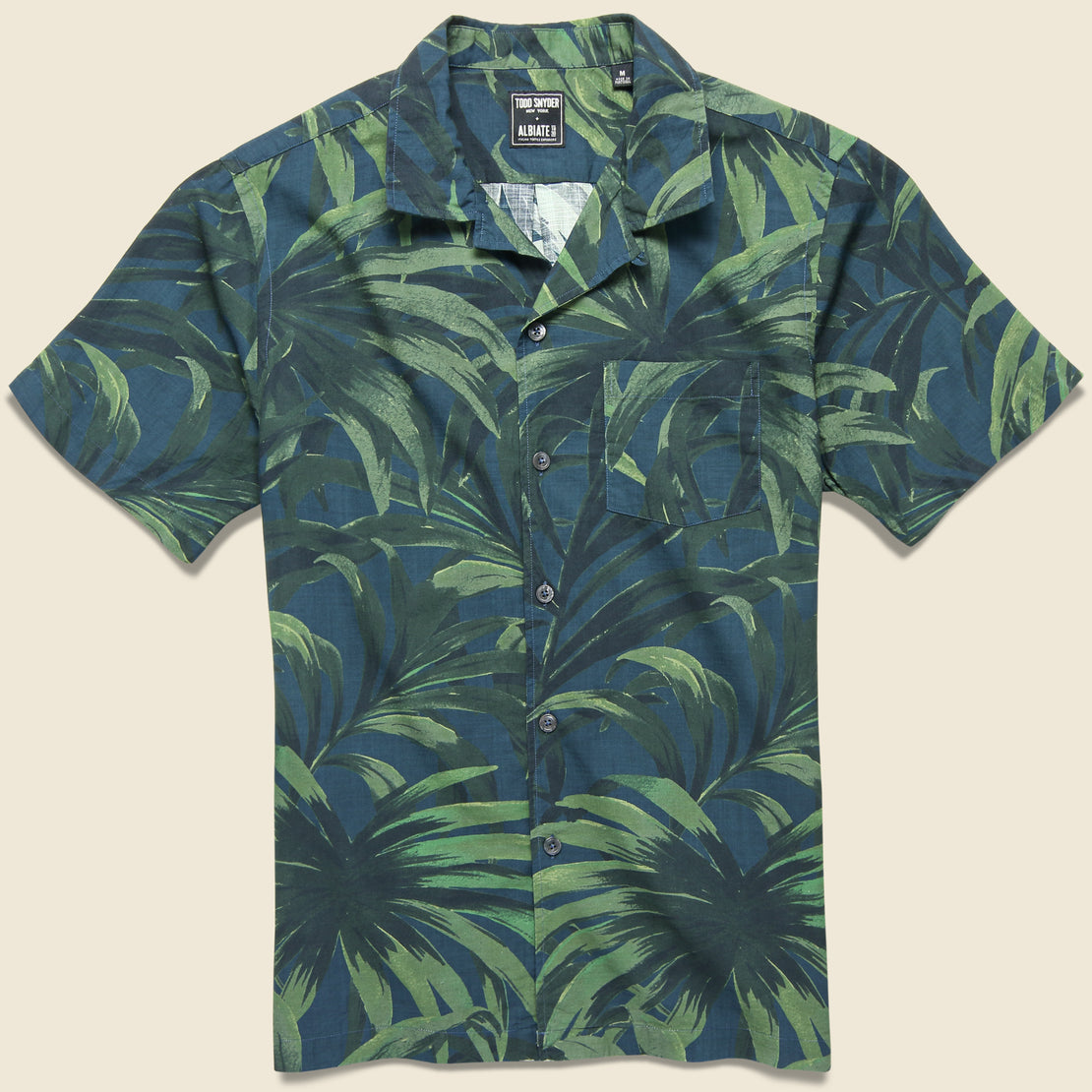 Todd Snyder Palm Print Shirt - Olive