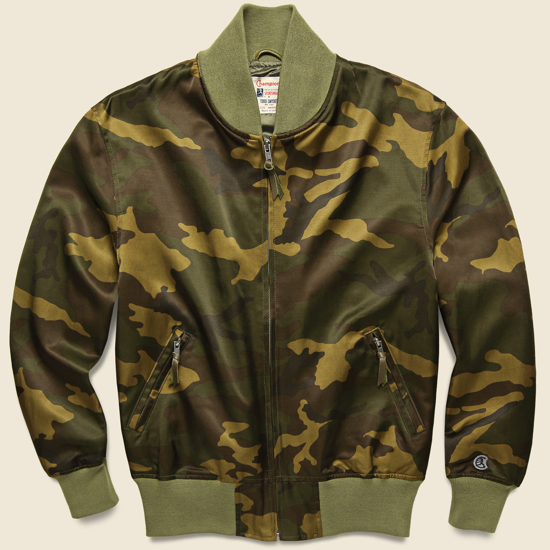 Todd Snyder Todd Snyder + Champion - Satin Camo Bomber - Green