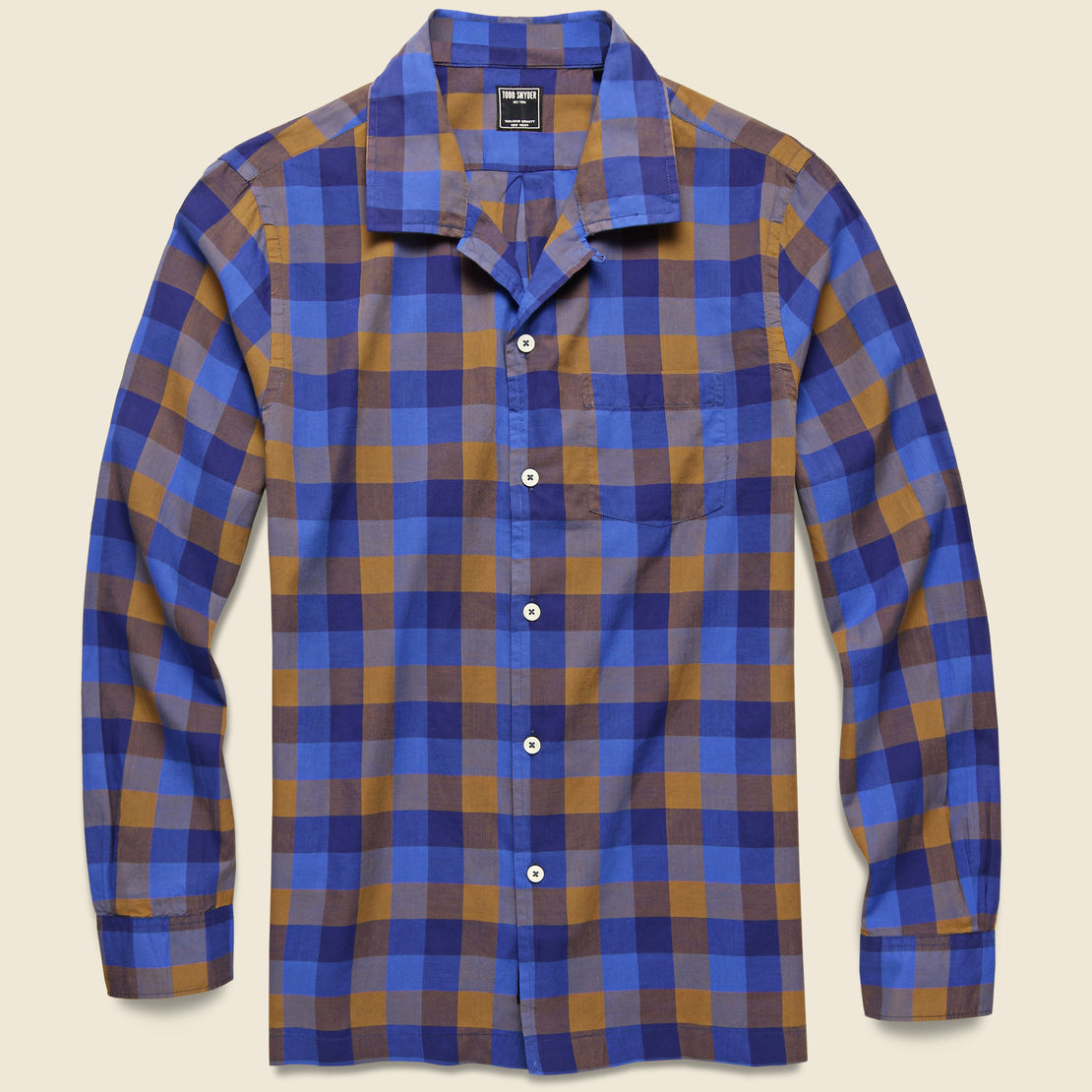 Todd Snyder Chestnut Plaid Camp Shirt - Blue
