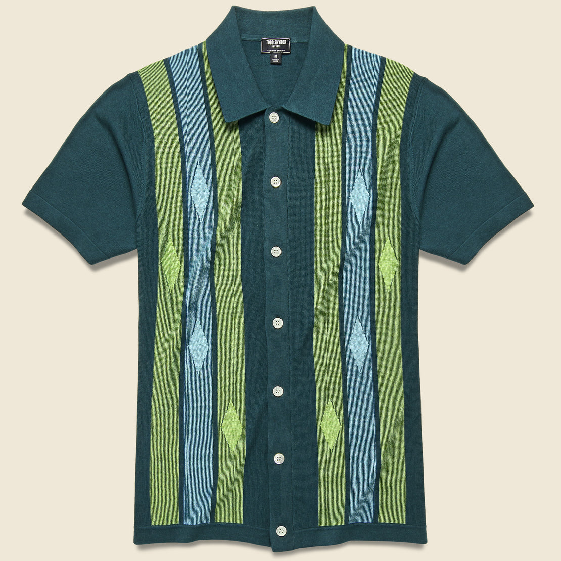 Todd Snyder Striped Argyle Button-Down Sweater Polo - Storm Green
