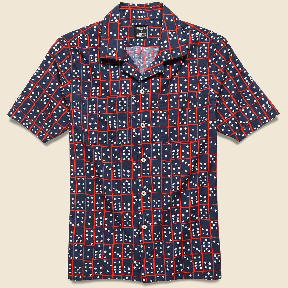 Todd Snyder Domino Camp Shirt - Navy/Red