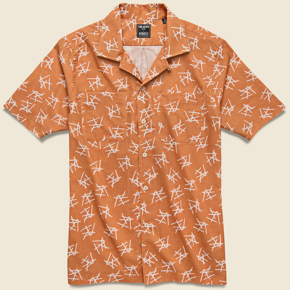Todd Snyder Matchstick Camp Shirt - Peach