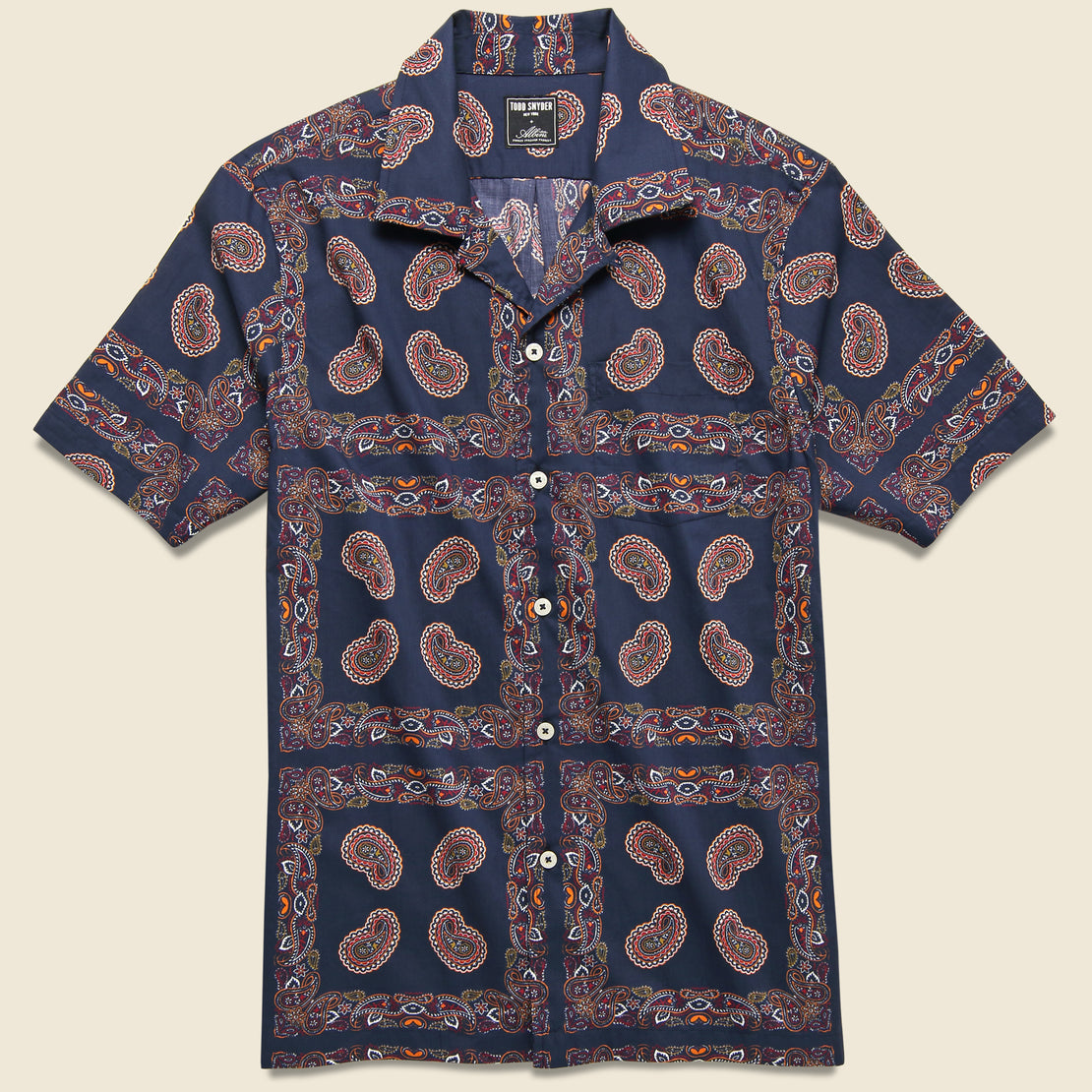 Todd Snyder Bandana Camp Shirt - Navy