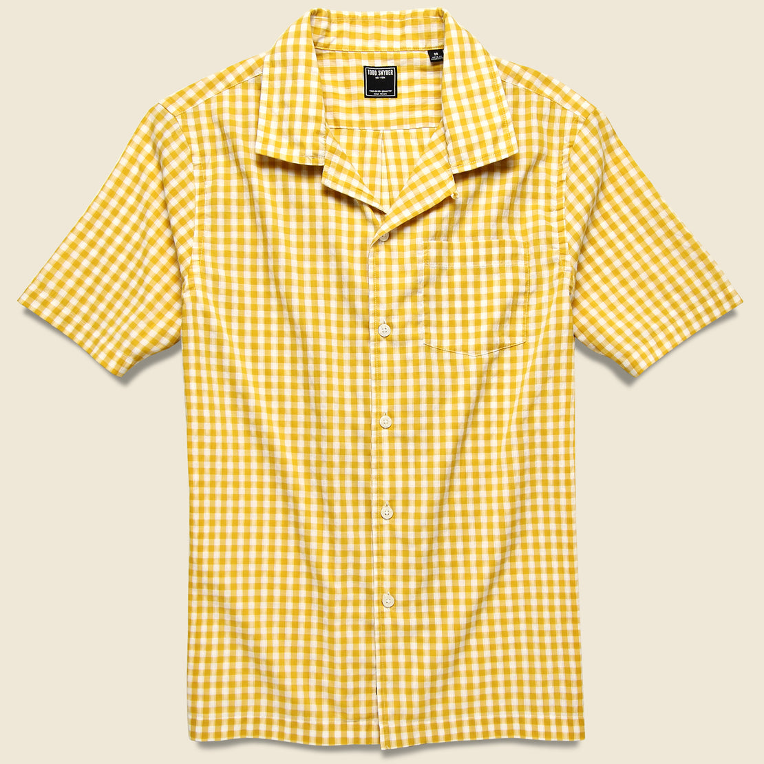 Todd Snyder Micro Gingham Camp Shirt - Yellow