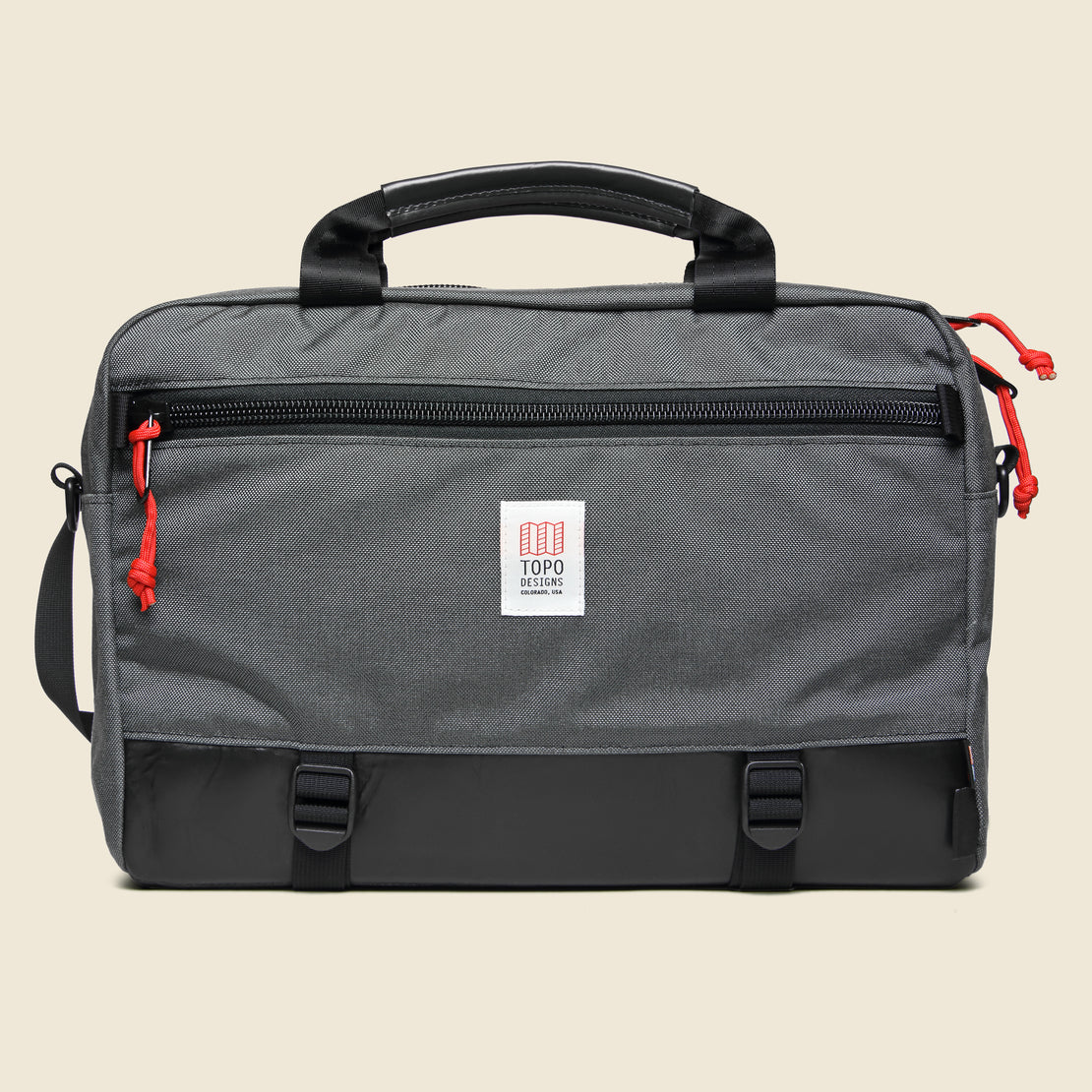 Topo Designs Commuter Briefcase - Charcoal/Black Leather