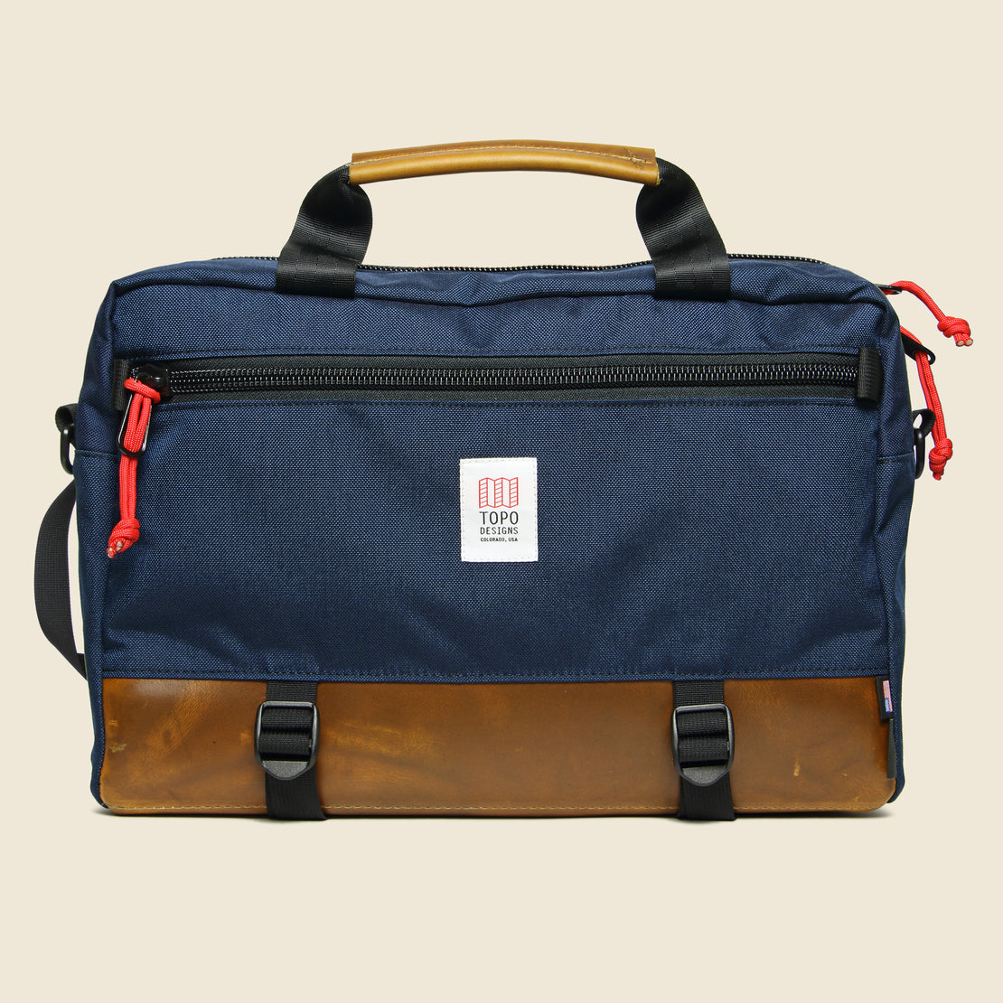 Topo Designs Commuter Briefcase - Navy/Brown Leather