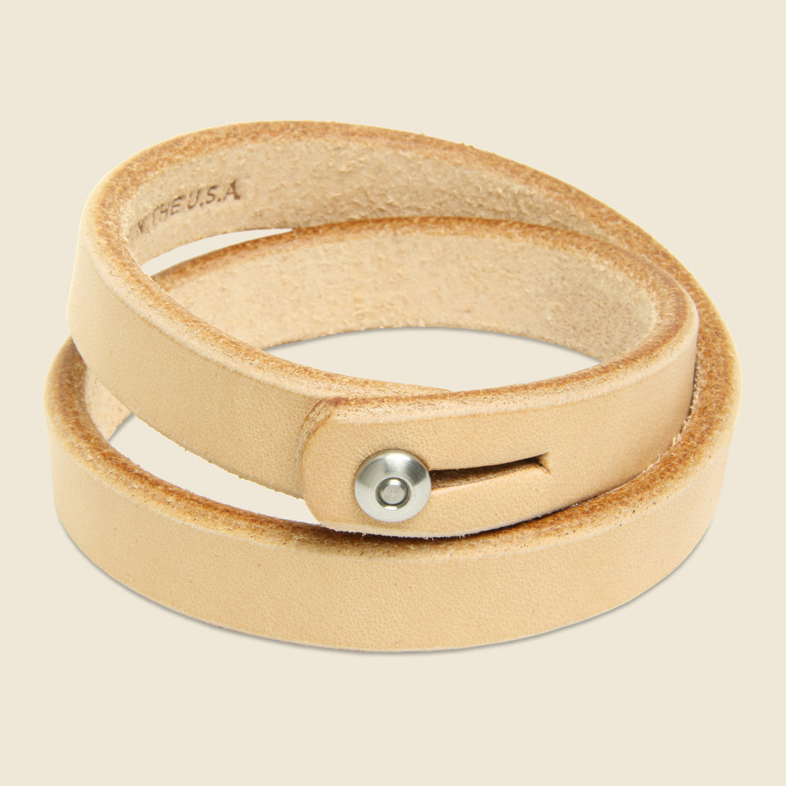 Tanner Double Wrap Wristband - Natural/Stainless
