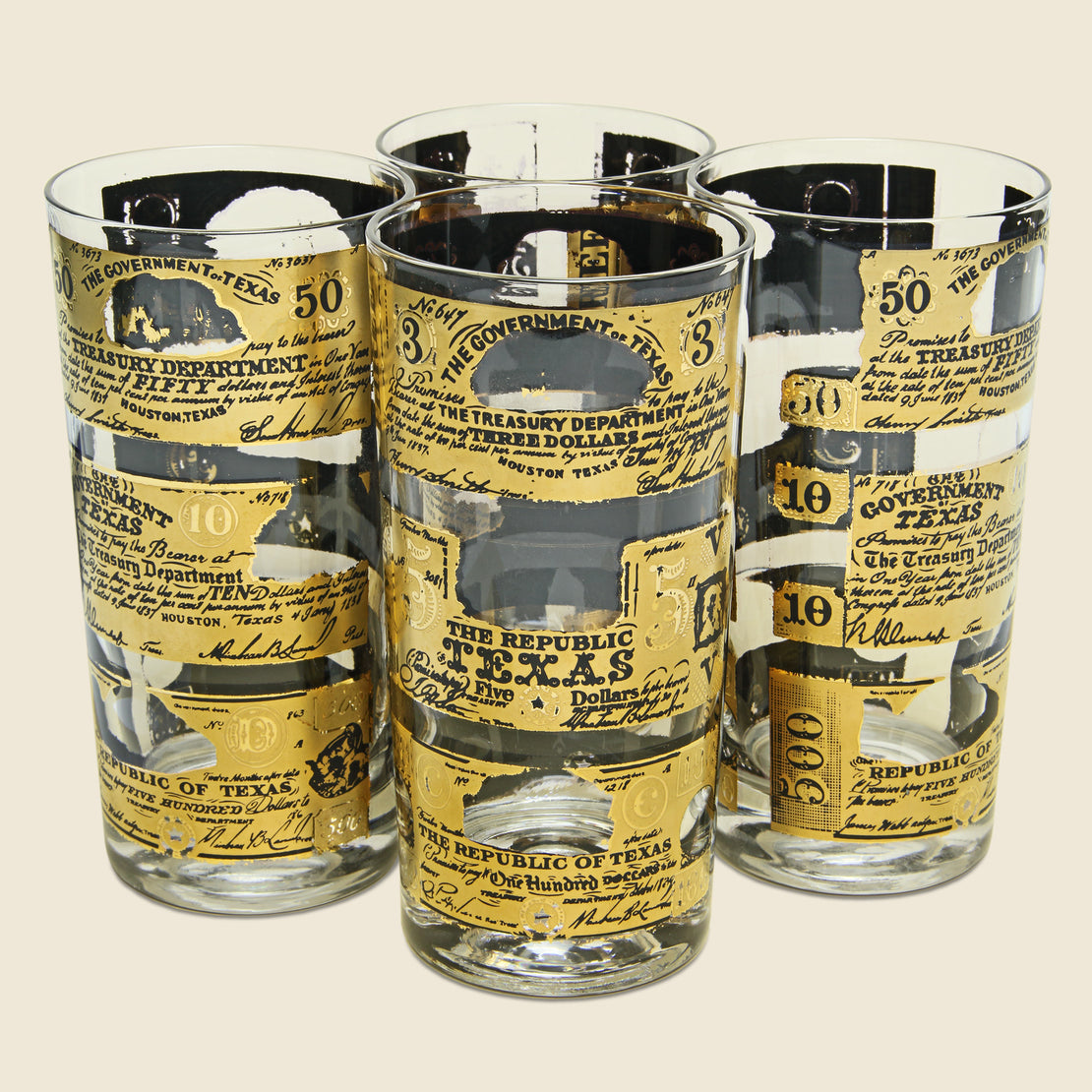 Vintage 1960s Texas Currency Glass Set