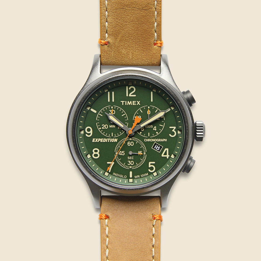 Timex Expedition Scout Chronograph Watch 43mm - Green/Tan