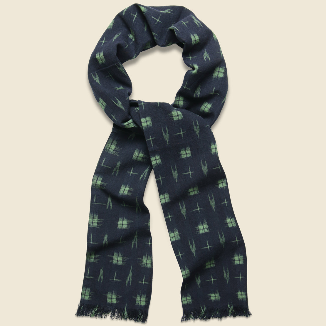 Universal Works Long Scarf - Navy Ikat