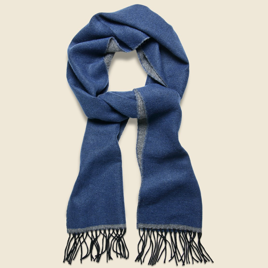 Universal Works Double-Sided Scarf - Navy/Grey