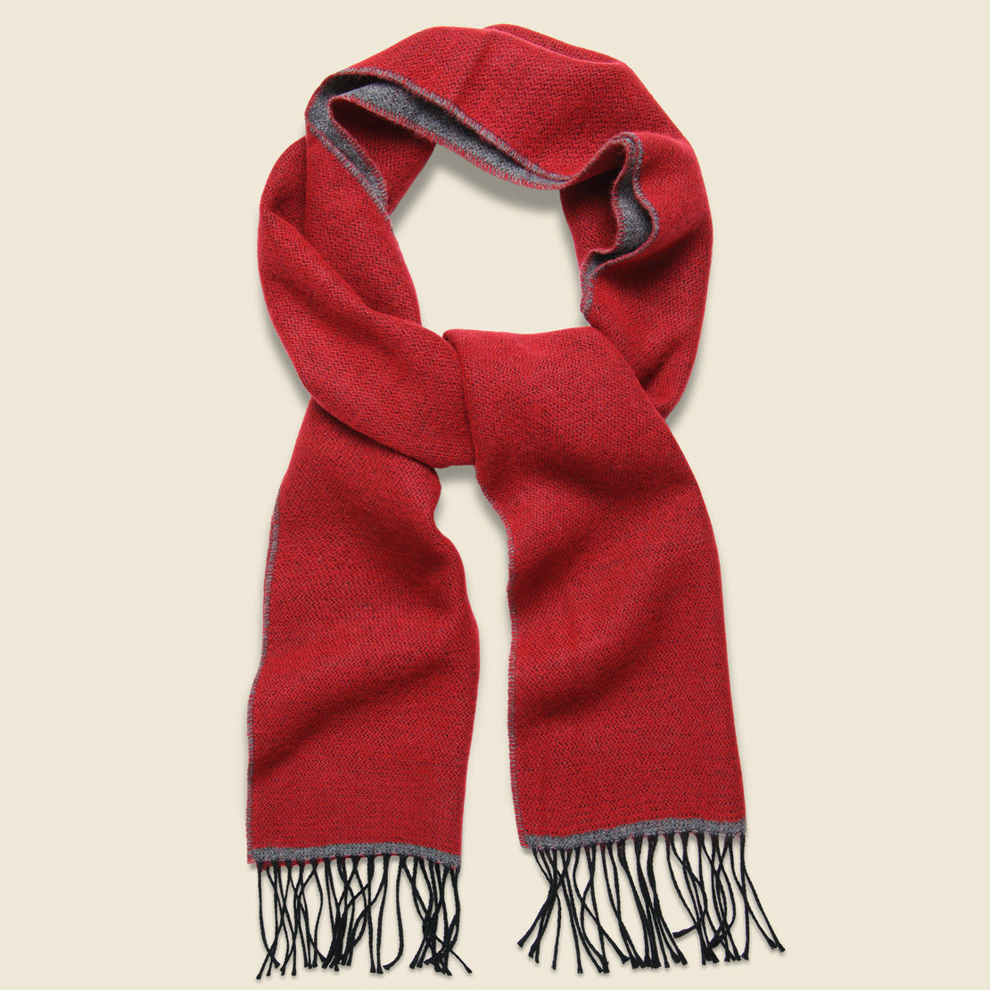 Universal Works Double-Sided Scarf - Red/Grey