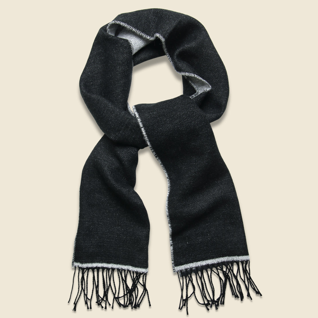 Universal Works Double-Sided Scarf - White/Black