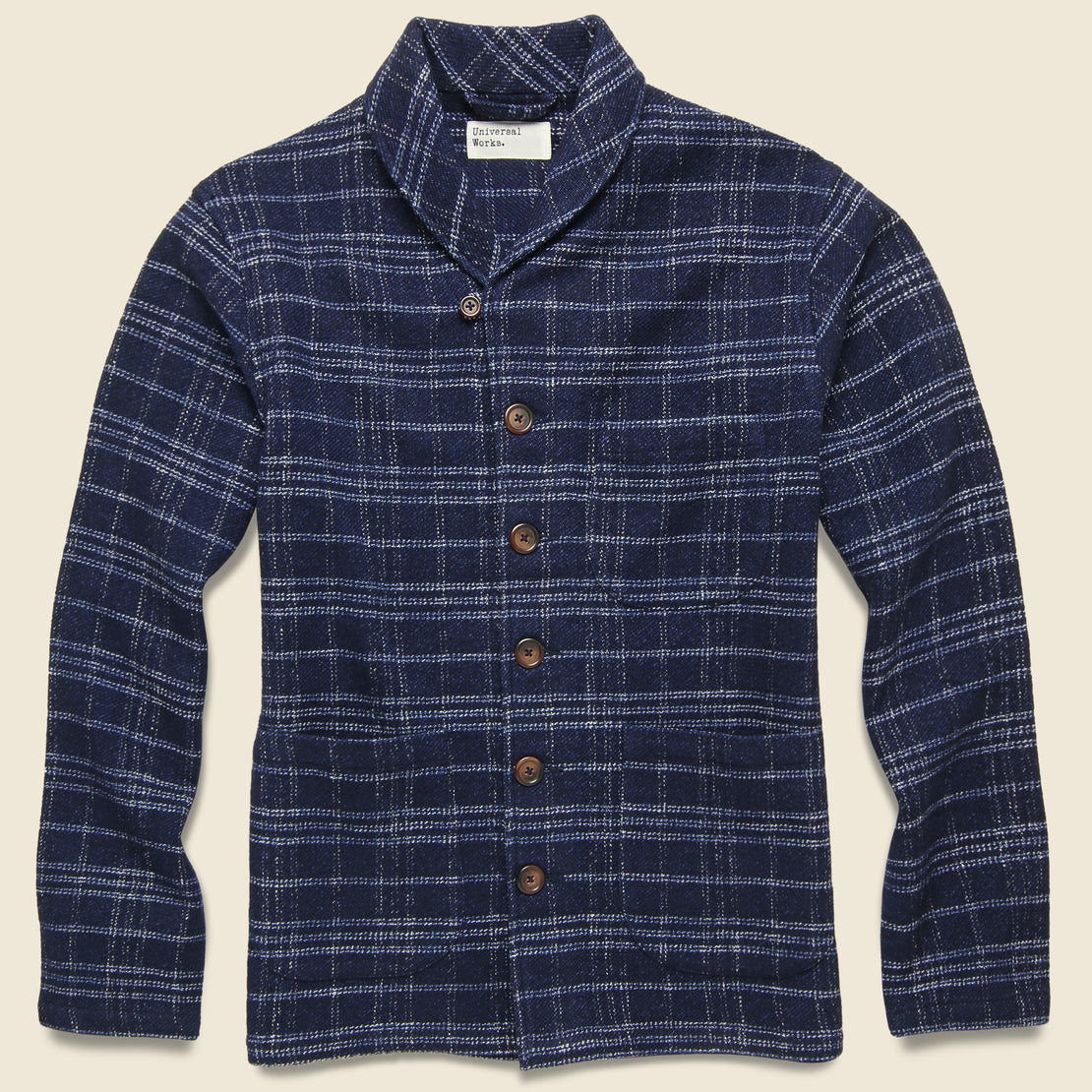 Universal Works Check Prairie Jacket - Indigo