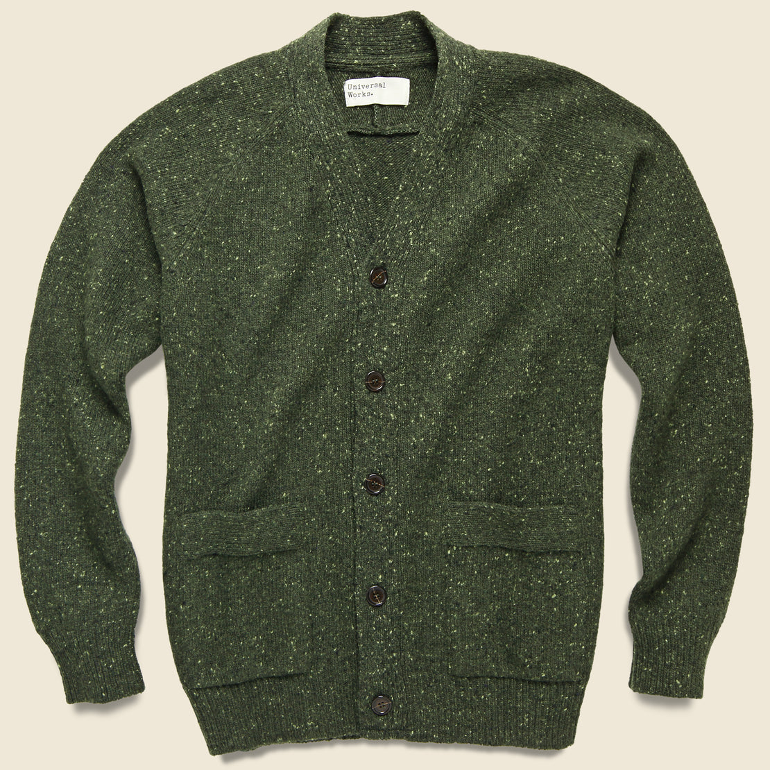 Universal Works Vince Lambswool Fleck Cardigan - Olive