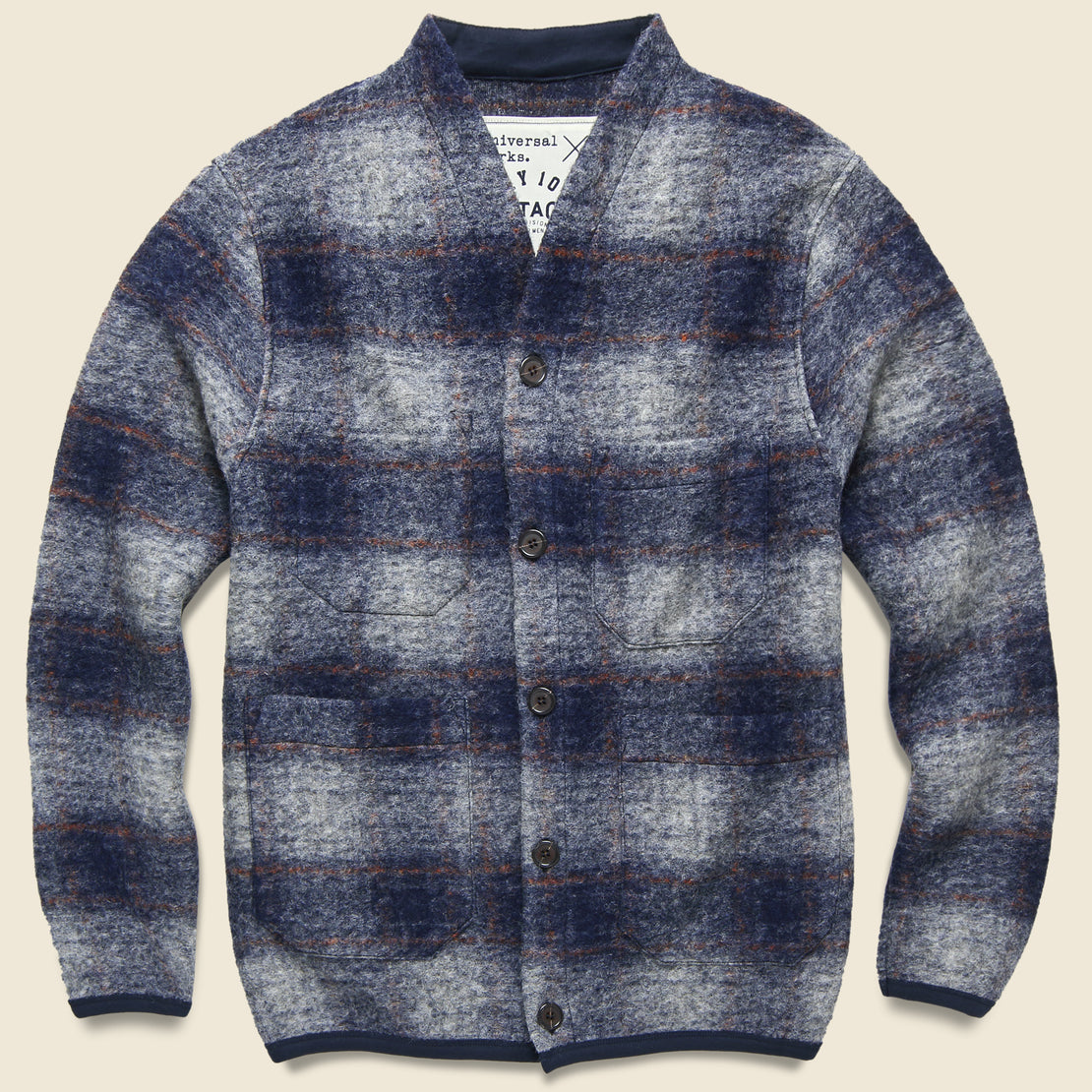 Universal Works Wool Fleece Cardigan - Navy Check