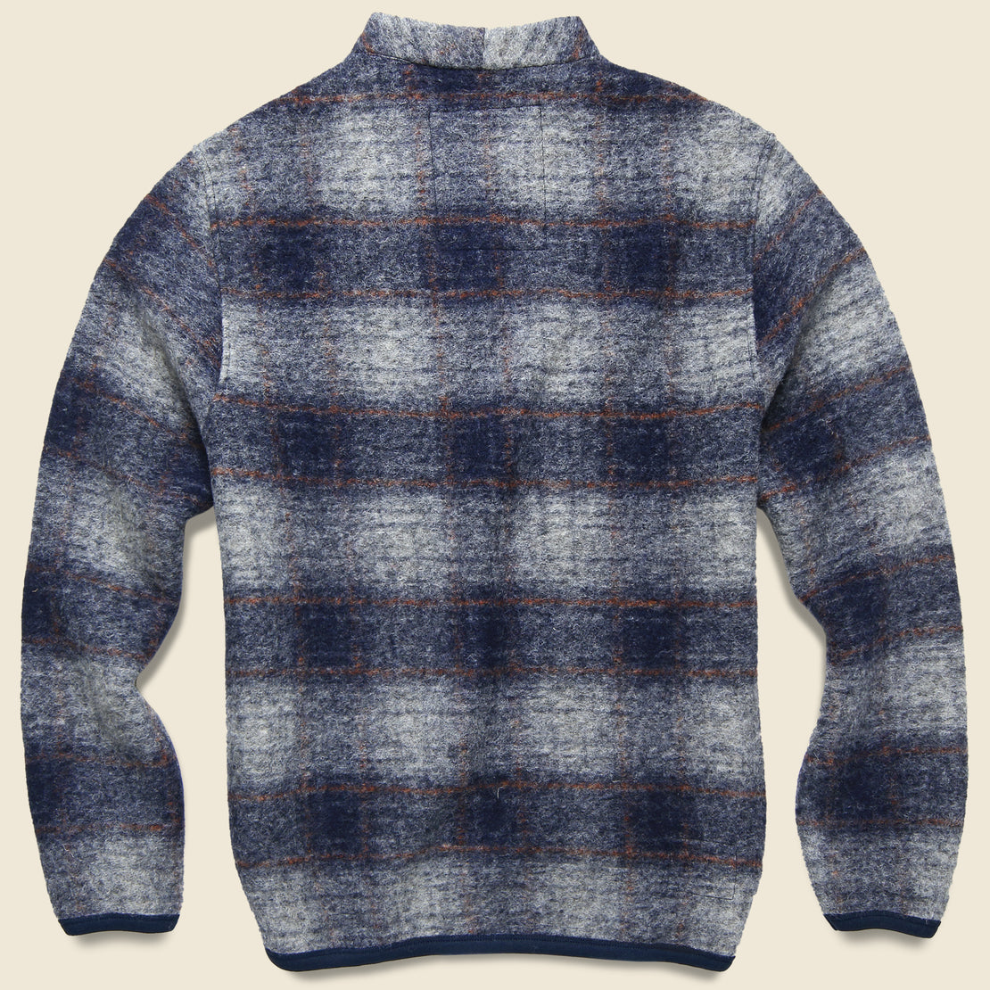 Wool Fleece Cardigan - Navy Check