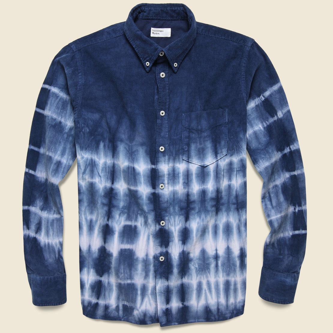 Universal Works Cord Everyday Shirt - Indigo Tie Dye