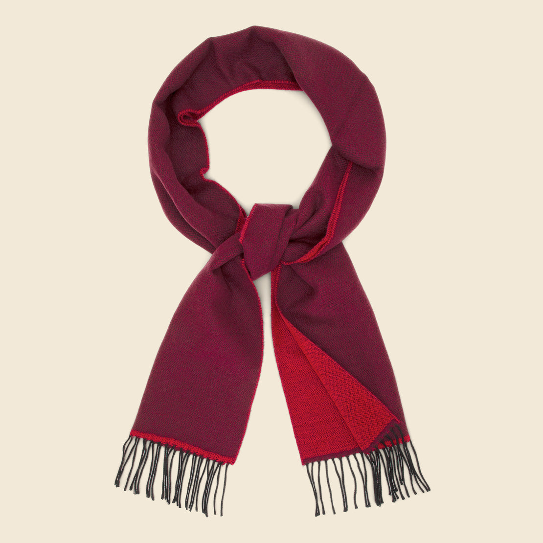 Universal Works Double-Sided Scarf - Burgundy/Red