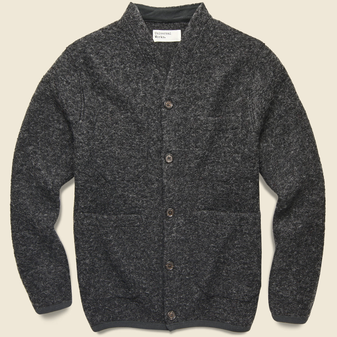 Universal Works Wool Fleece Cardigan - Charcoal