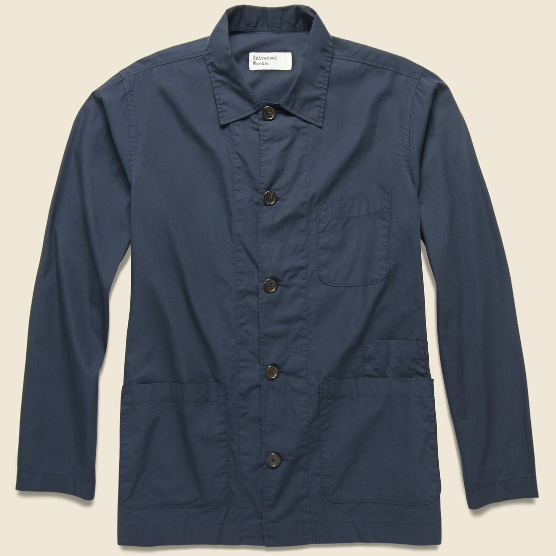 Universal Works Bakers Poplin Overshirt - Navy