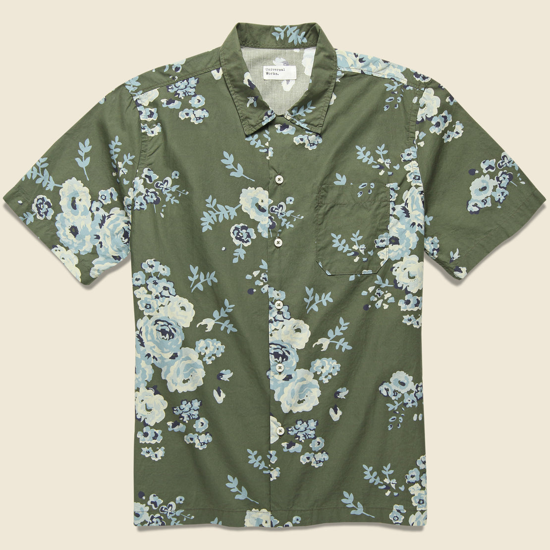 Universal Works Road Shirt - Olive Flower