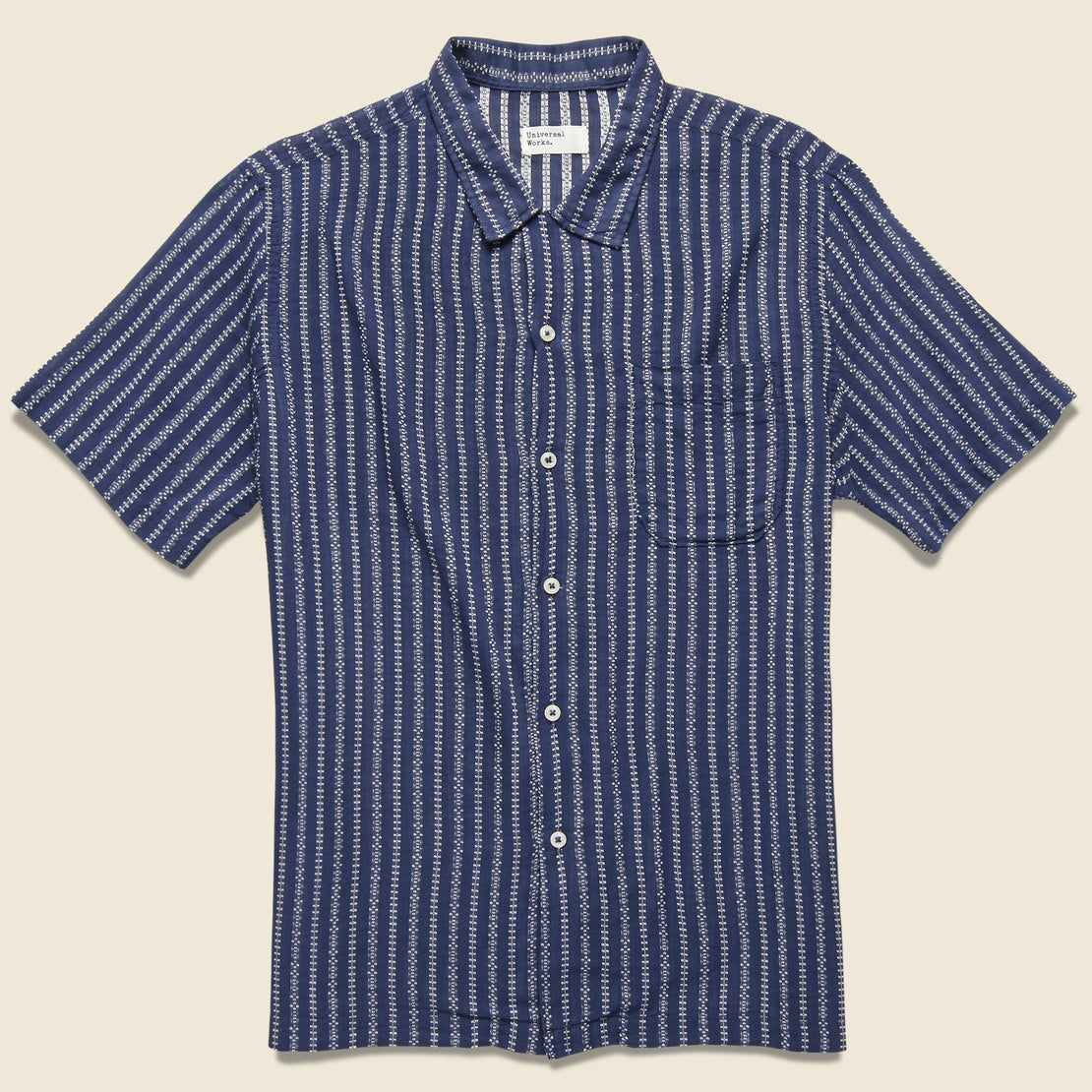 Universal Works Road Shirt - Navy Hendrix Stripe