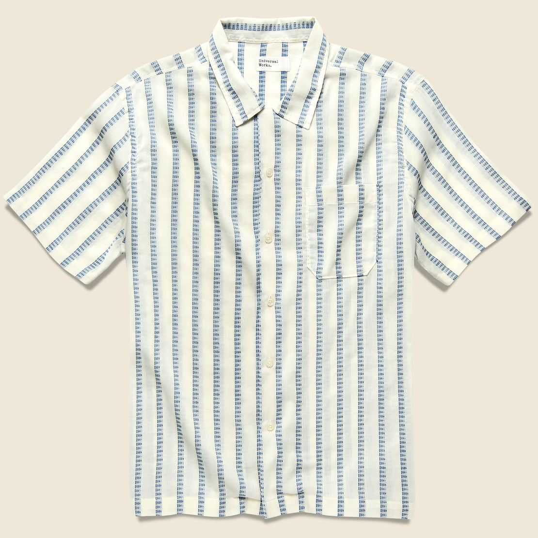 Universal Works Road Shirt - White Hendrix Stripe