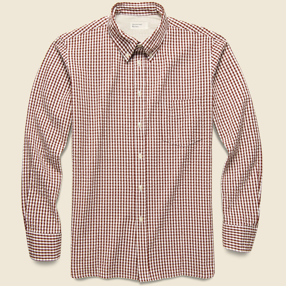 Universal Works Everyday Shirt - Brown Gingham Seersucker