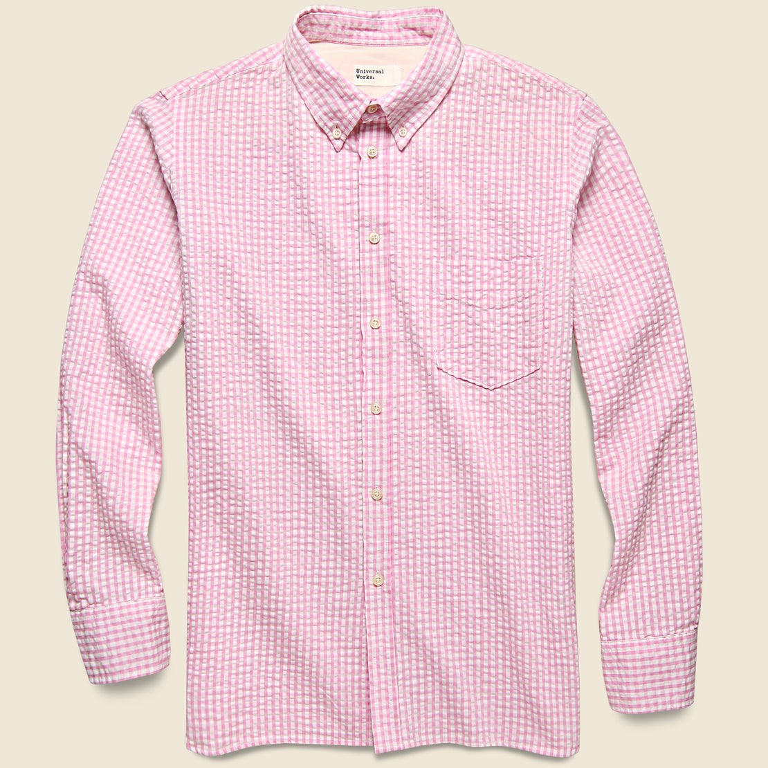Universal Works Everyday Shirt - Pink Gingham Seersucker