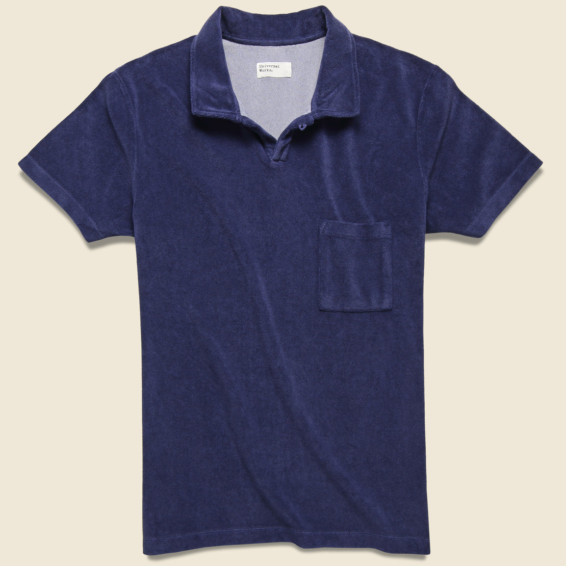 Universal Works Terry Fleece Vacation Polo - Navy