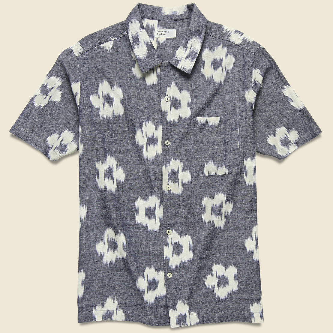 Universal Works Road Shirt - Grey Ikat Flower