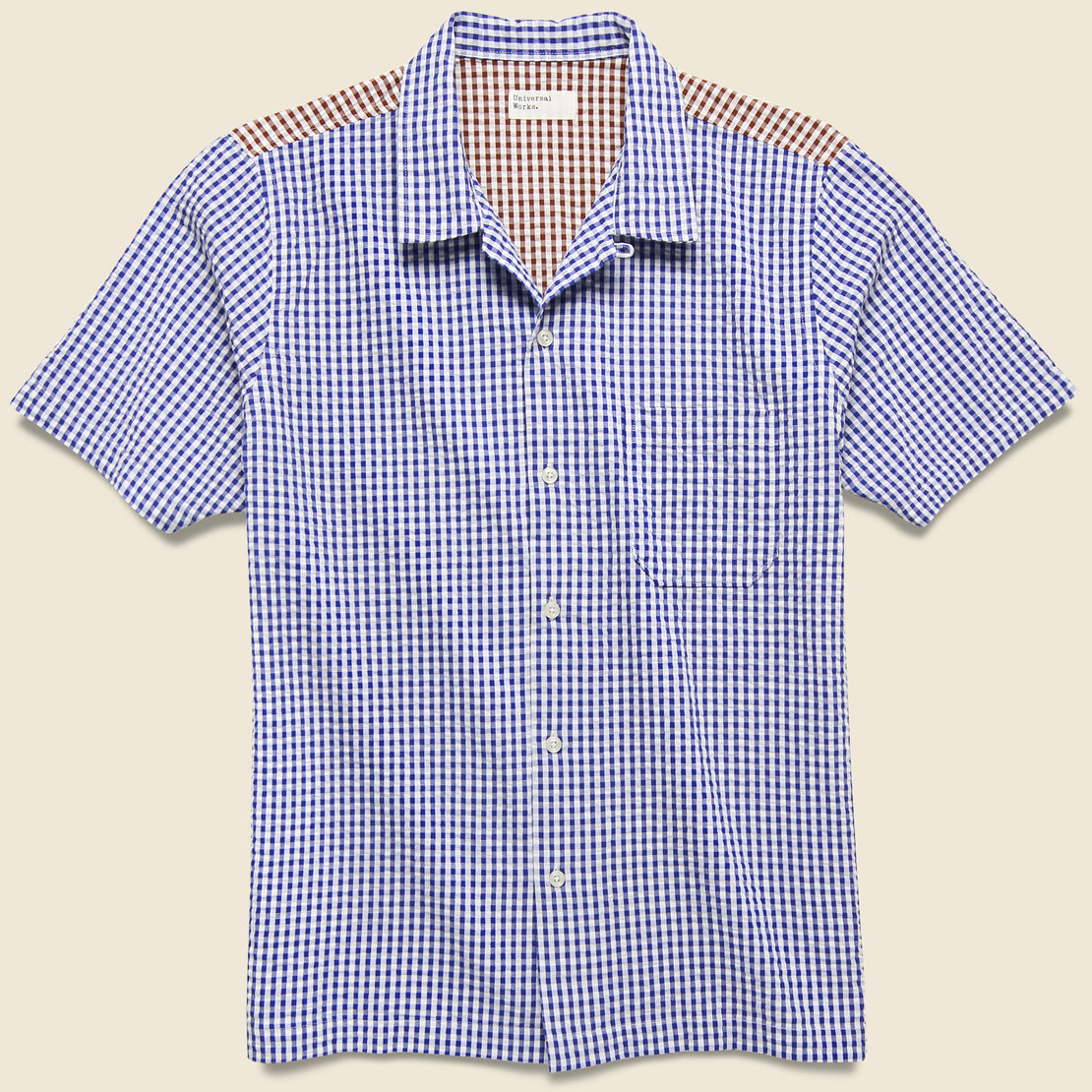 Universal Works Road Shirt - Blue/Brown Gingham Seersucker