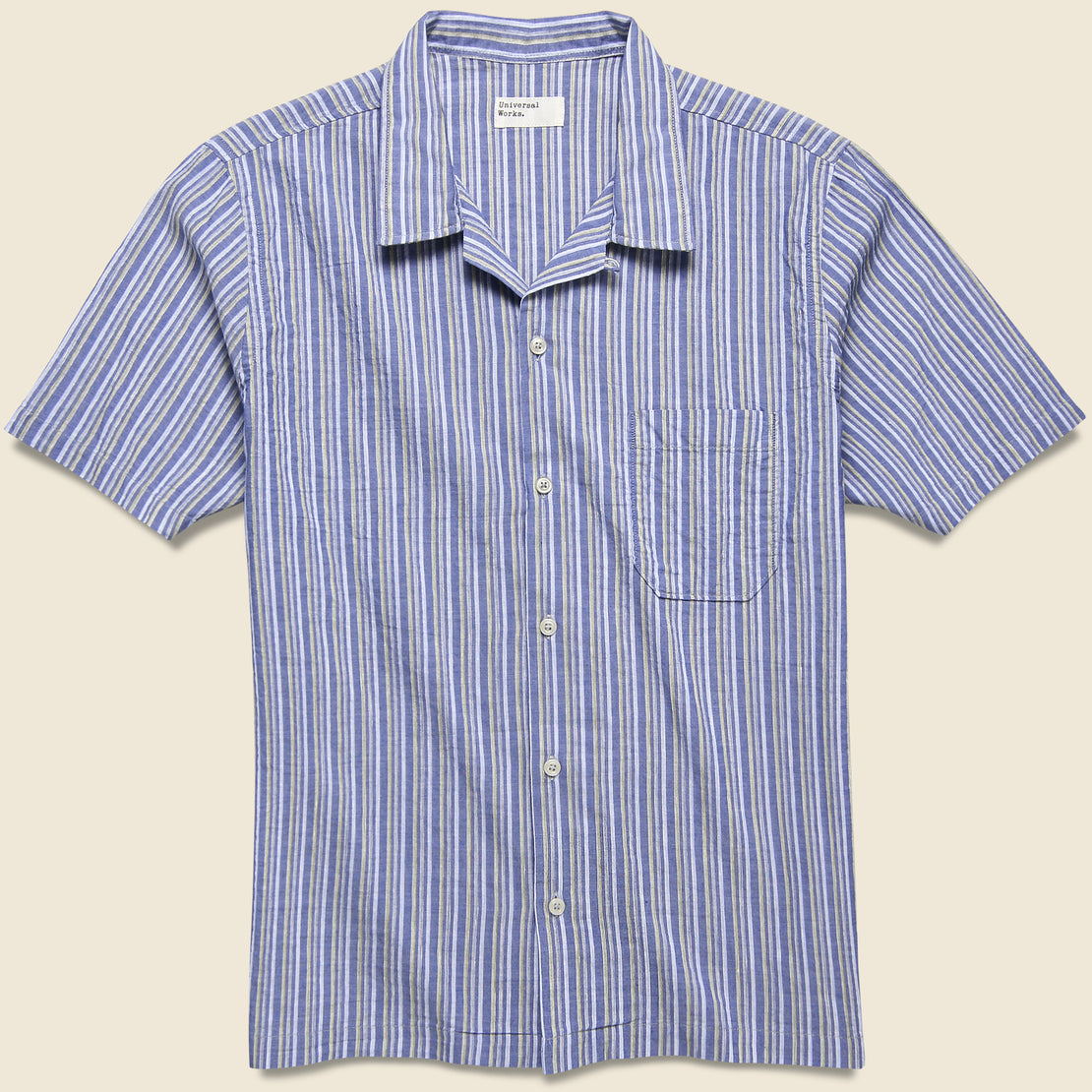 Universal Works Road Shirt - Blue Elton 2 Stripe