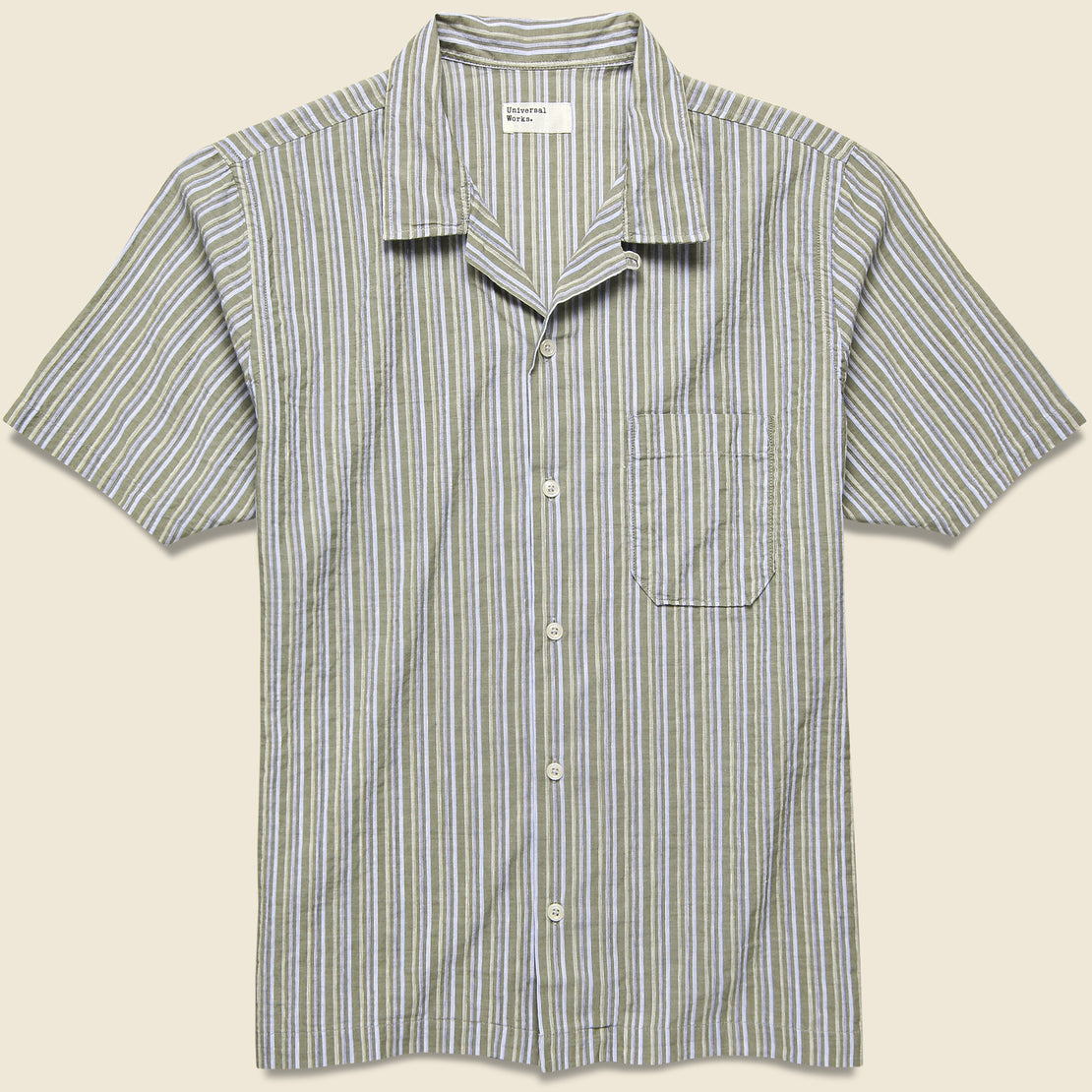 Universal Works Road Shirt - Olive Elton 2 Stripe
