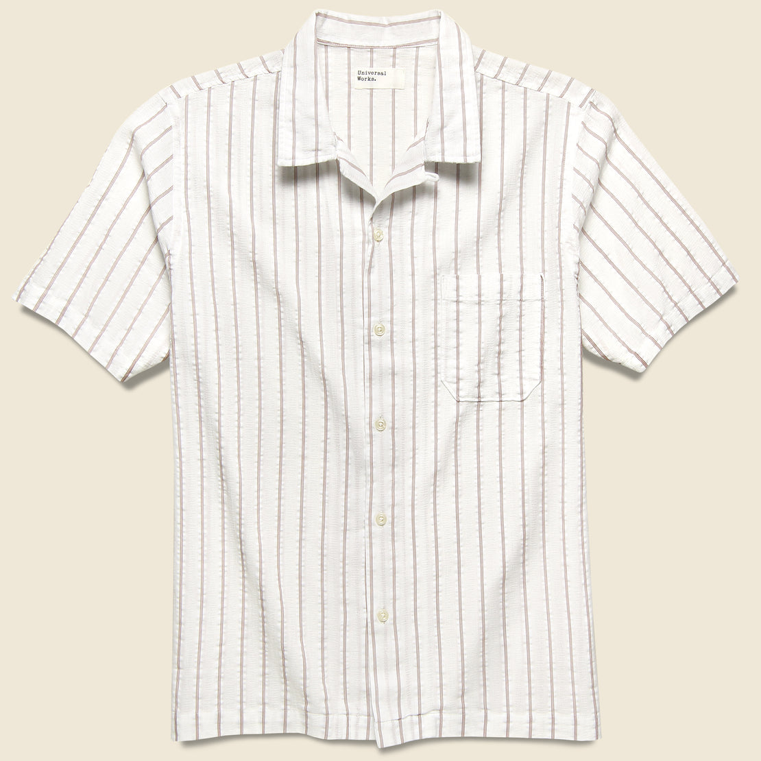 Universal Works Road Shirt - White/Raisin Rancho Stripe