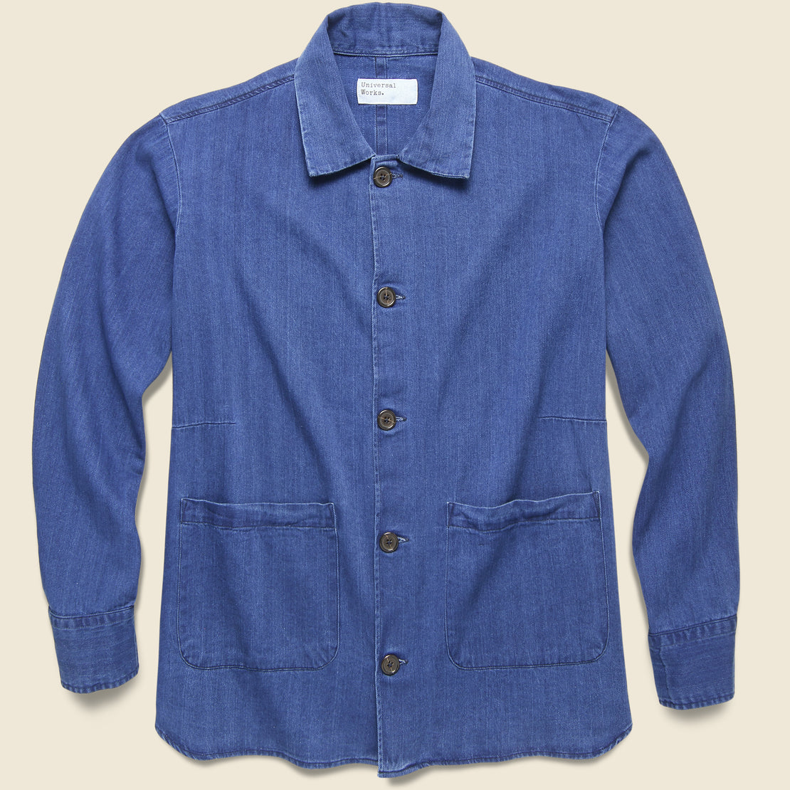 Universal Works Herringbone Denim Travail Shirt Jacket - Washed Indigo
