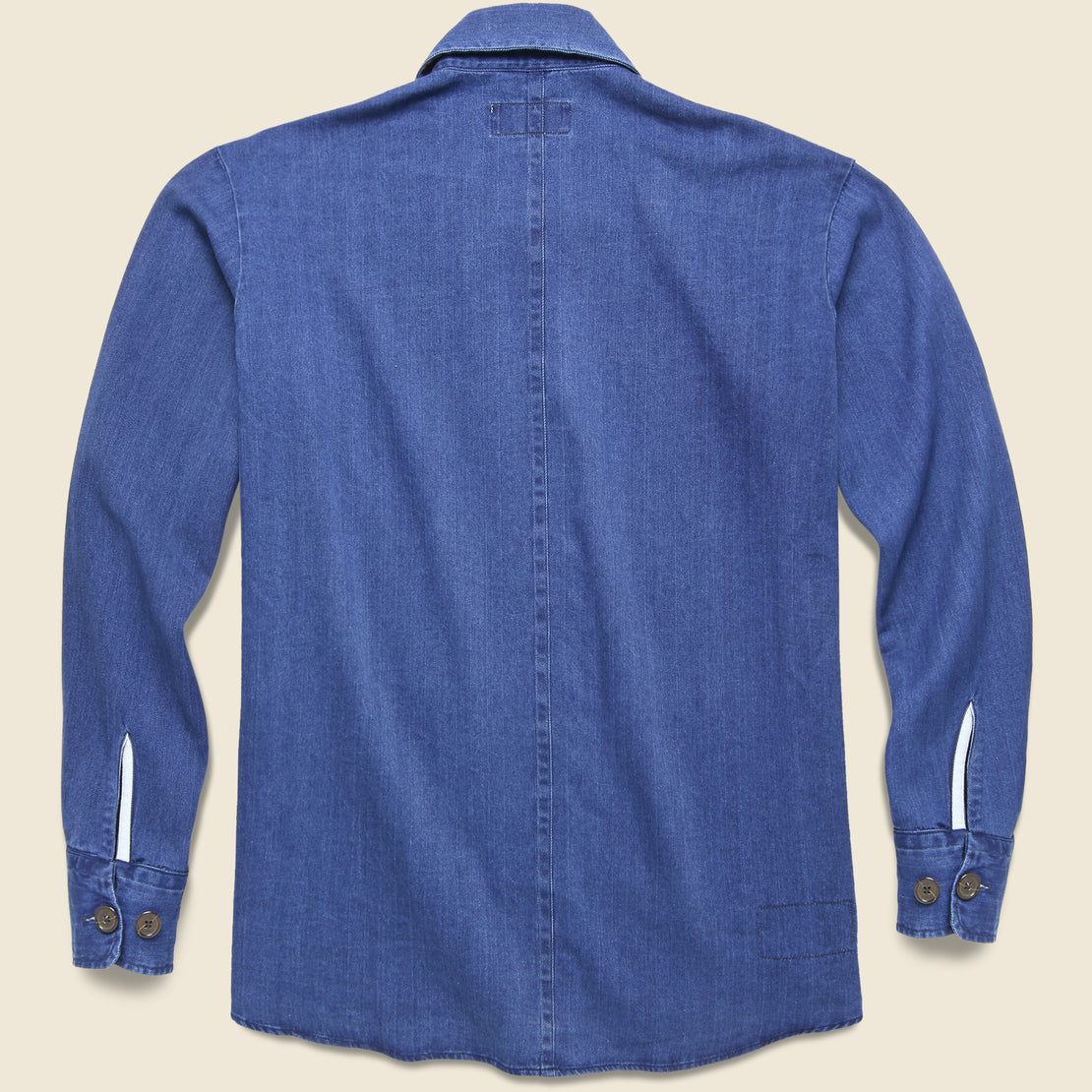Herringbone Denim Travail Shirt Jacket - Washed Indigo