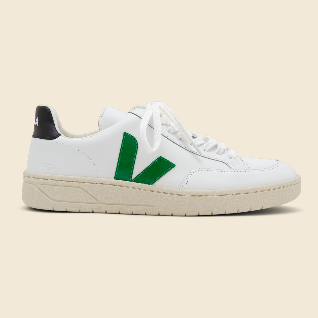 Veja V-12 Leather Sneaker - Extra White/Emeraude Black