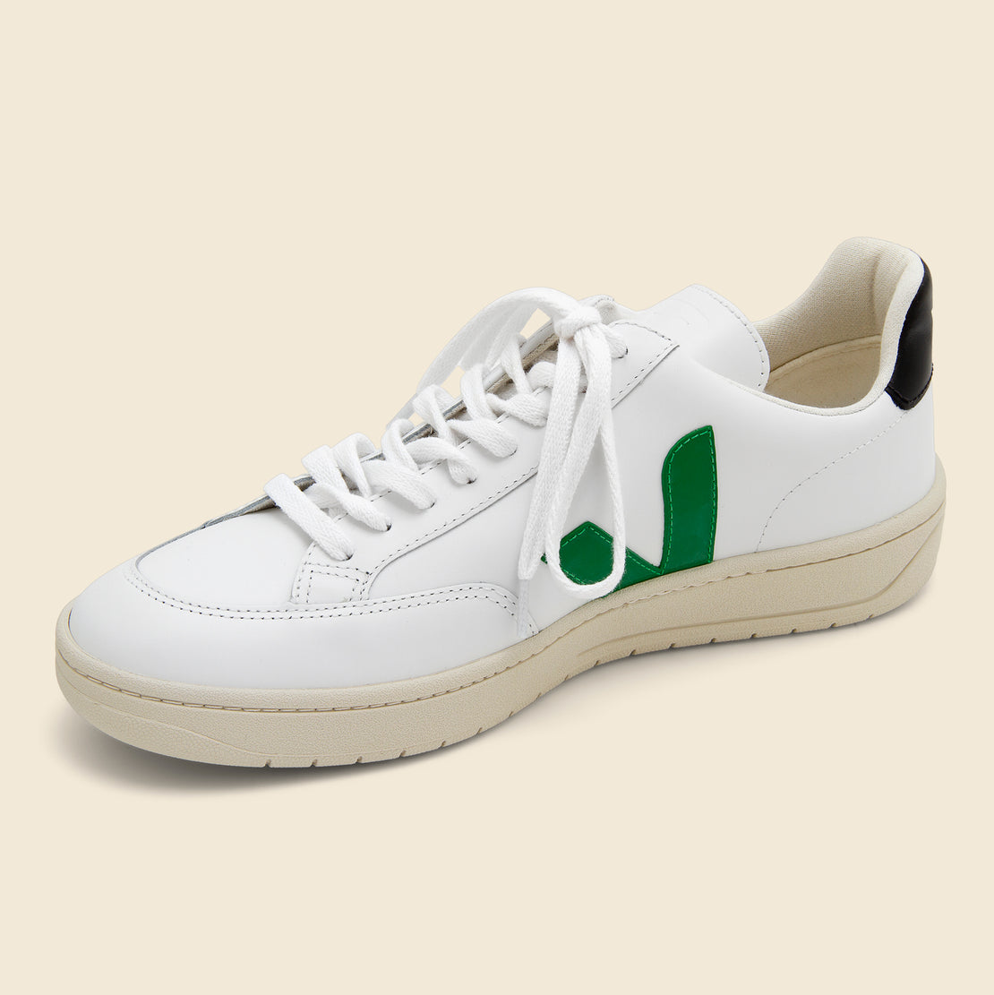 V-12 Leather Sneaker - Extra White/Emeraude Black