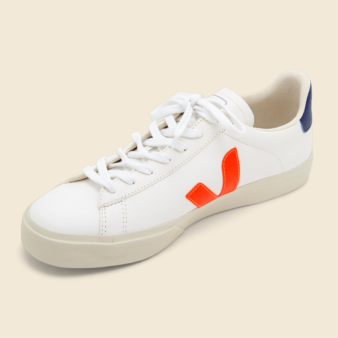 Campo ChromeFree Leather Sneaker - Extra White/Orange/Cobalt