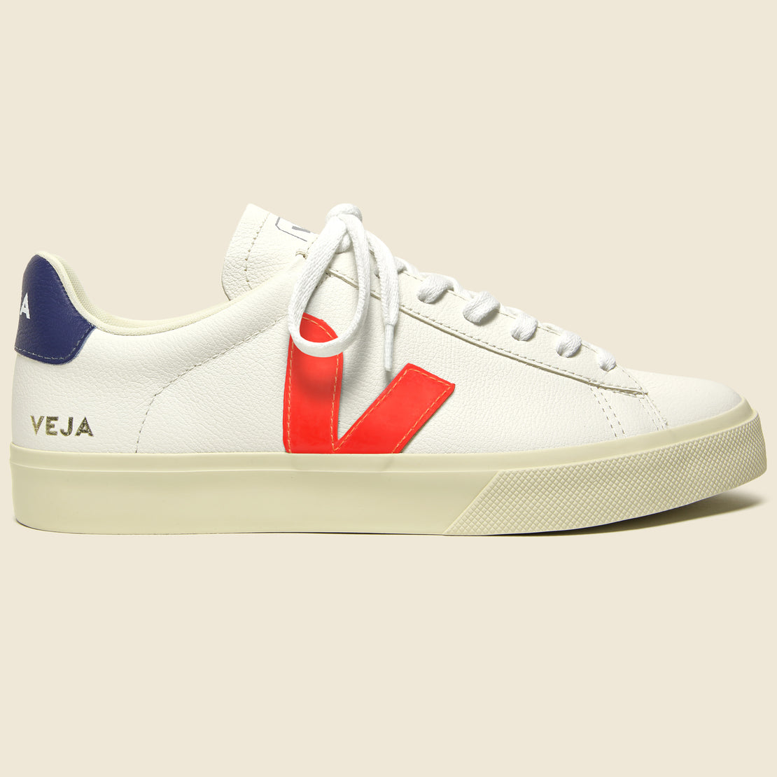 Veja Campo ChromeFree Leather Sneaker - Extra White/Orange/Cobalt