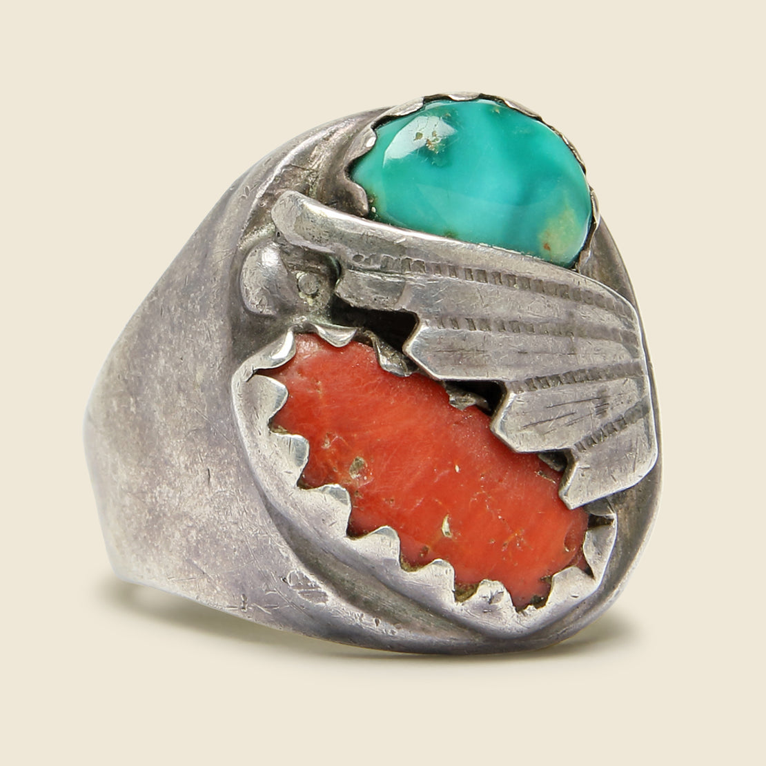 Vintage Turquoise and Coral Inlay Ring - Sterling Silver