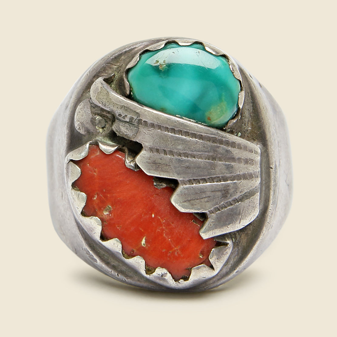 Turquoise and Coral Inlay Ring - Sterling Silver