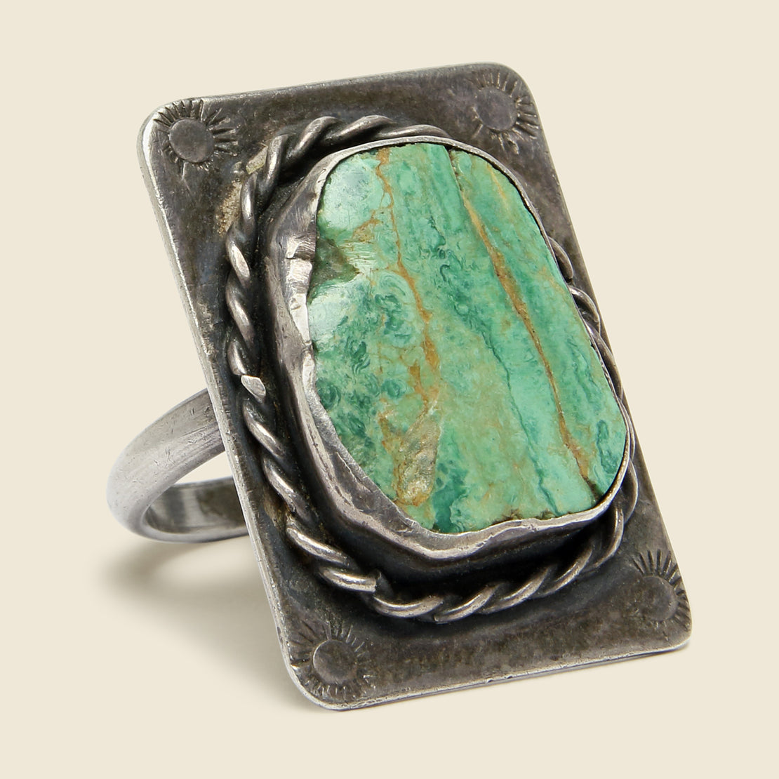 Vintage Carved & Stamped Turquoise Flattop Ring
