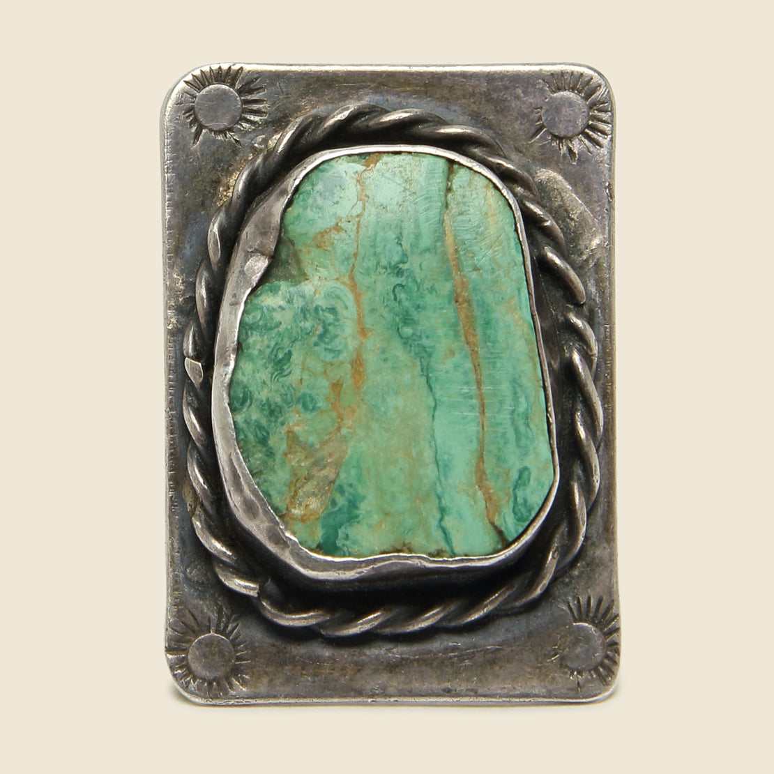 Carved & Stamped Turquoise Flattop Ring