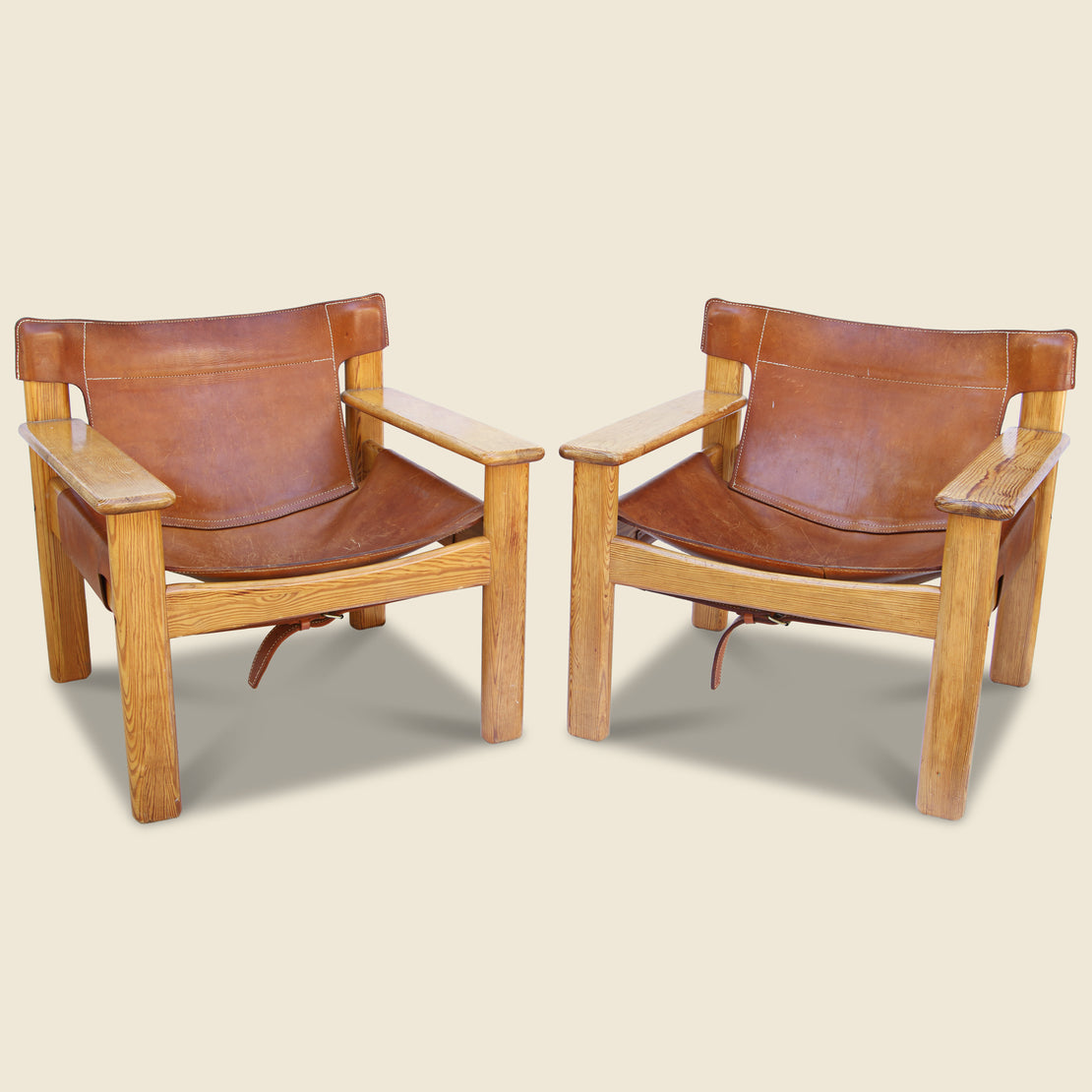 Vintage Danish Leather & Pine Lounge Chairs