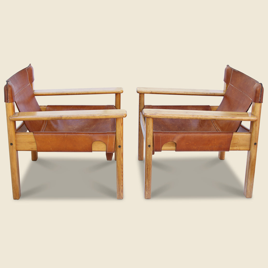 Danish Leather & Pine Lounge Chairs