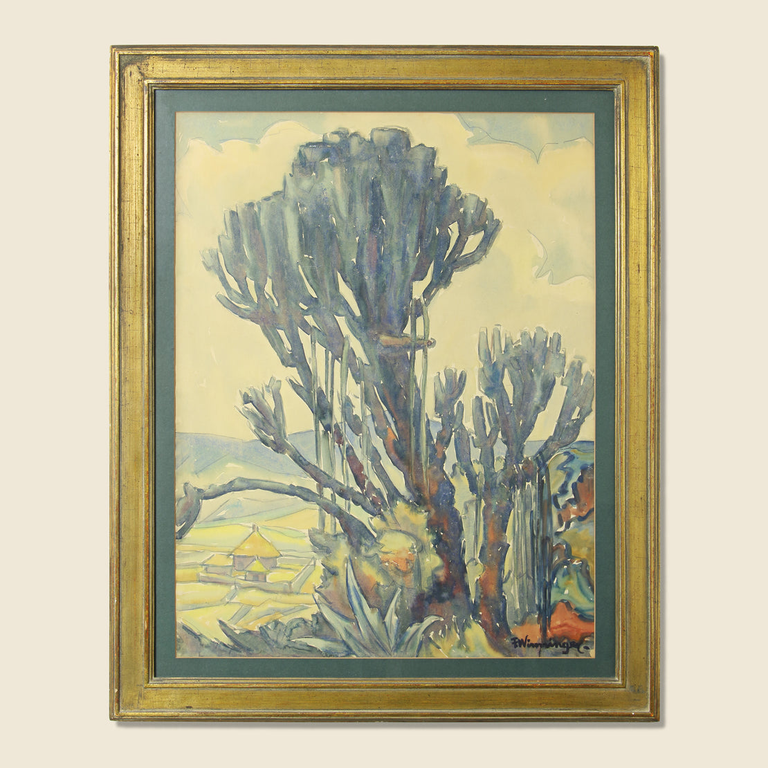 Vintage Saguaro Cactus Watercolor Painting - Franz Winniger