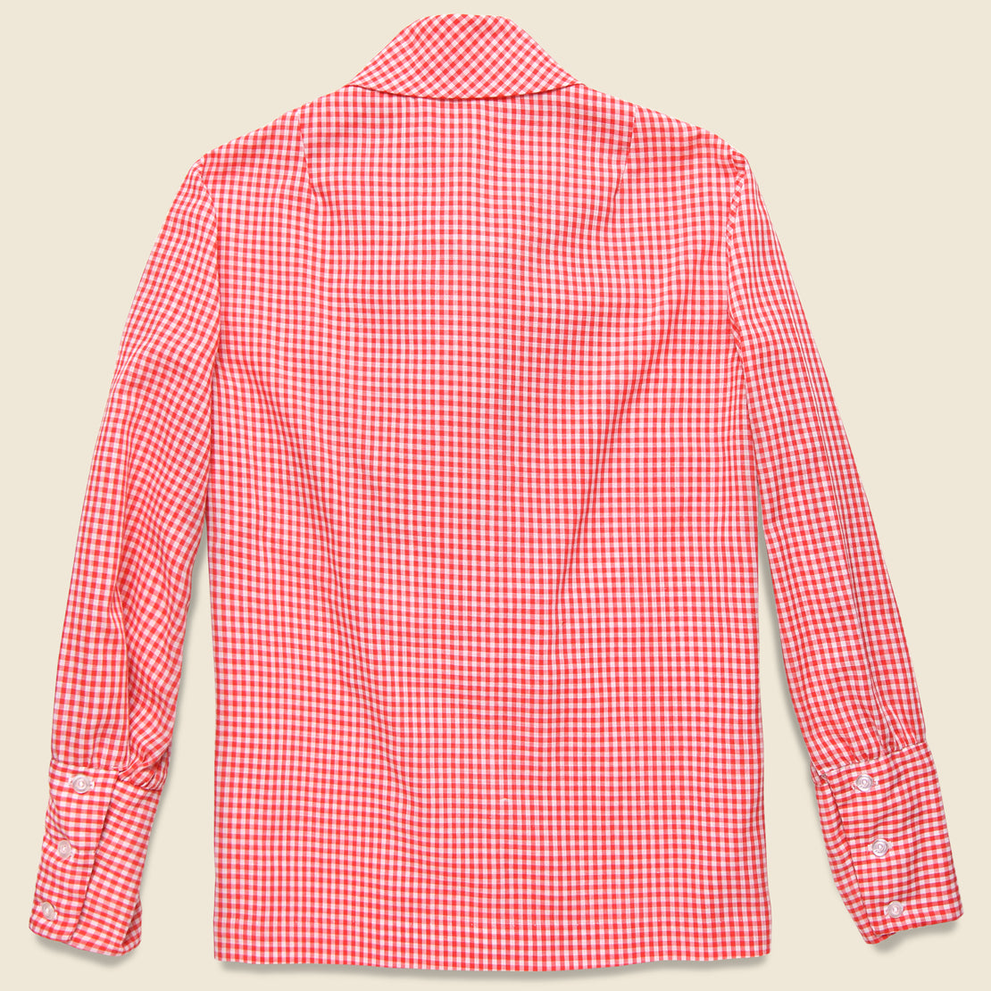 Tie-Neck Western Shirt - Red/White Check